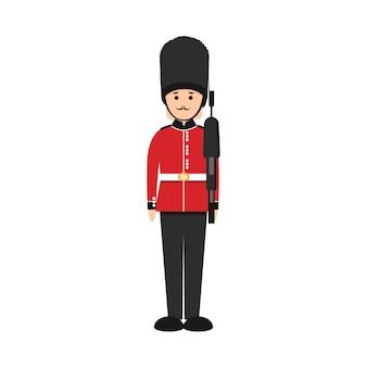 Soldado británico en estilo plano. guardia de la reina en uniforme tradicional.