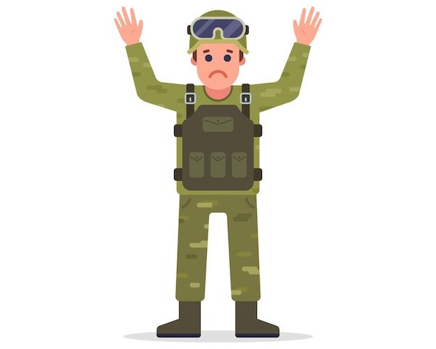 Un soldado capturado levanta las manos y se rinde. ilustración de vector de personaje plano.