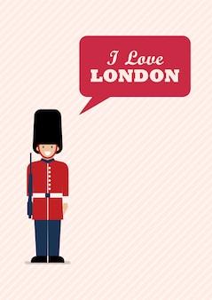 Soldado del ejército británico con la palabra que amo londres