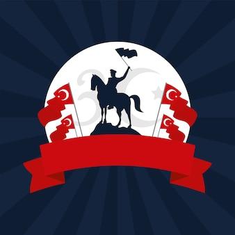Soldado militar ondeando la bandera en el caballo turquía celebración diseño ilustración vectorial