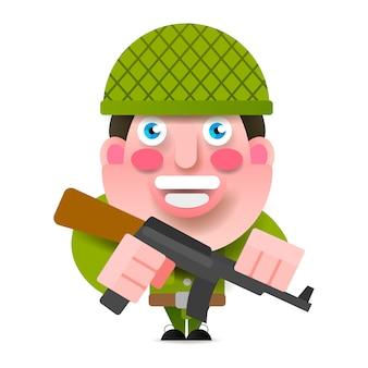 Soldado con pistola y pintura ilustración vectorial