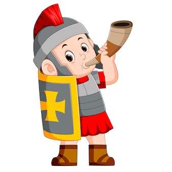 Soldado romano soplar cuerno de guerra