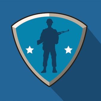 Soldado con silueta de figura de rifle en escudo