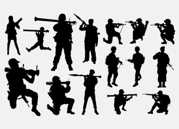 Soldado en silueta de guerra