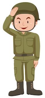 Soldado en uniforme verde