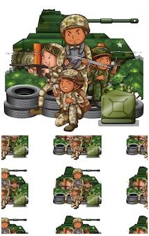 Soldados aislados en blanco