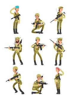 Soldados de dibujos animados en diversas acciones. militares con armas. gente en el ejército conjunto