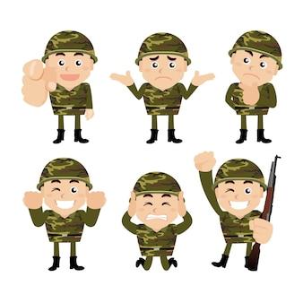 Soldados del ejército en diferentes poses.
