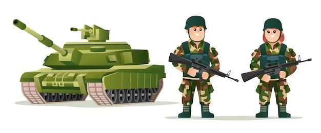 Soldados del ejército lindo niño y niña sosteniendo armas de fuego con ilustración de dibujos animados de tanque