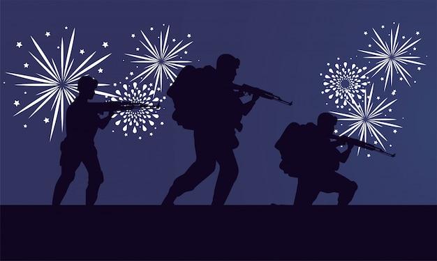 Soldados figuras siluetas y escena de fuegos artificiales.