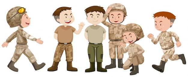 Soldados, marrón, uniforme, ilustración