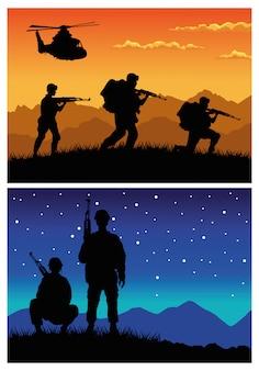 Soldados militares con pistolas y helicópteros siluetas