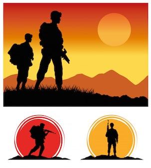 Soldados militares con siluetas de armas