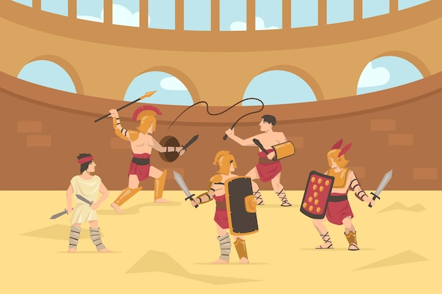 Soldados romanos con armadura luchando con espadas, lanzas y látigos. ilustración de dibujos animados.