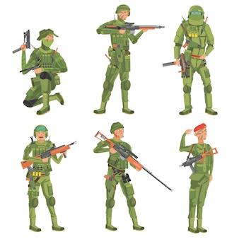 Soldados sobre un fondo blanco.