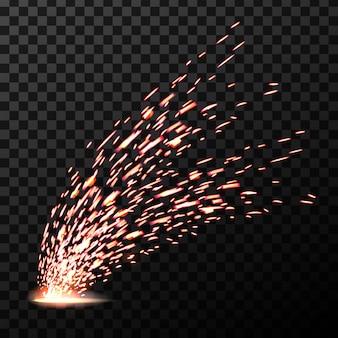 Soldadura de chispas de fuego de metal, durante el corte de hierro.