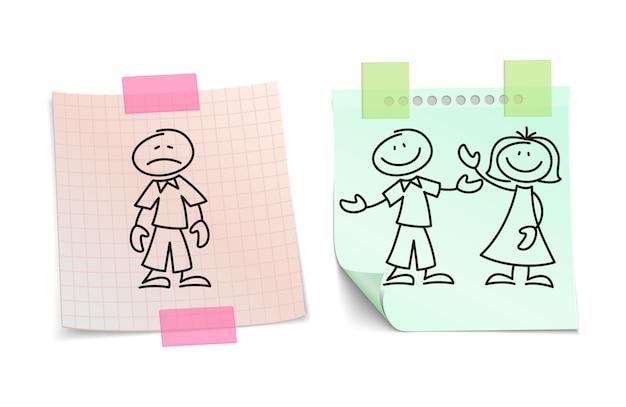 Soledad vs amor feliz en concepto de vector de hojas de papel