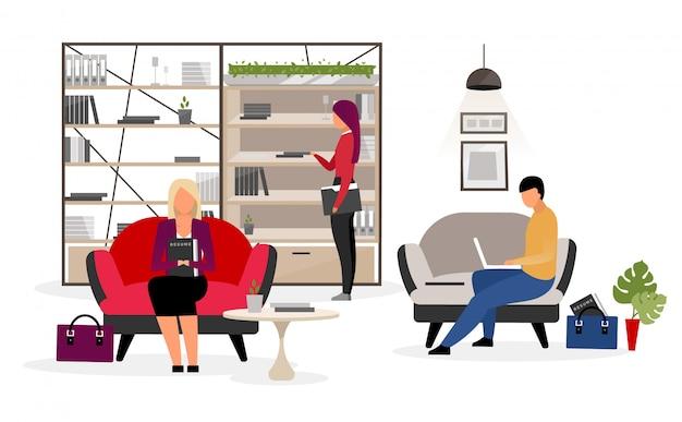 Solicitantes de empleo esperando entrevista ilustración plana