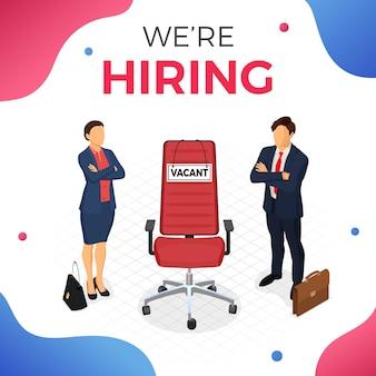 Los solicitantes de empleo para el puesto y la silla de oficina con signo vacante