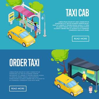 Solicitar conjunto de web de banner 3d isométrica de taxi