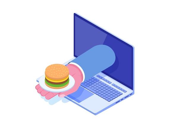 Solicitar servicios de comida en línea, concepto isométrico de entrega de comida rápida.