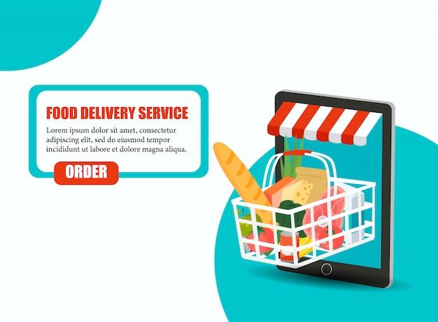 Solicite alimentos, entrega de comestibles en el hogar y aplicación para teléfonos inteligentes: cesta de compras completa con verduras frescas, alimentos y bebidas en la pantalla de un teléfono móvil