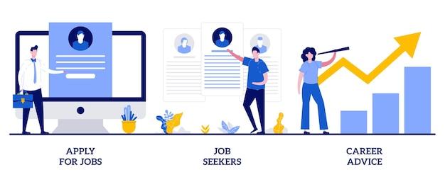 Solicite empleo, solicitantes de empleo, concepto de asesoramiento profesional con personas pequeñas. conjunto de ilustración abstracta de servicio de recursos humanos. contratación, inicio de carrera, búsqueda de trabajo, perfil de empleado, metáfora del sitio web corporativo.