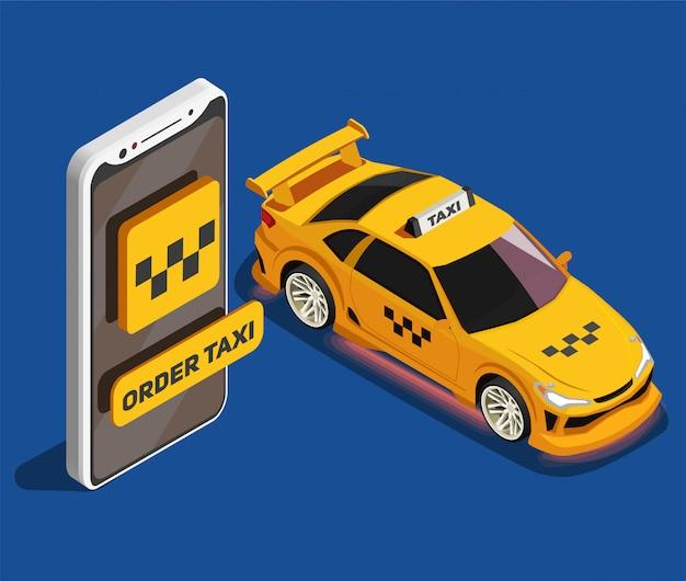 Solicite una ilustración isométrica de taxi con un taxi amarillo y una imagen grande de un teléfono inteligente moderno con servicio de taxi de aplicación móvil
