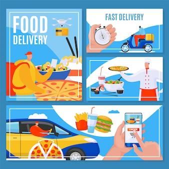 Solicite el servicio de entrega de alimentos en línea, rápidamente a la puerta, pancartas, ilustración. mensajero entregando comida de restaurante. chef cocinando y repartidor en el coche, ordenando por aplicación telefónica.