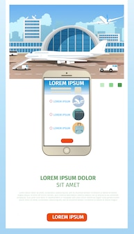 Solicitud de boletos de avión página web de dibujos animados vector
