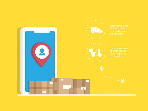 Solicitud de entrega en línea con caja de paquetería