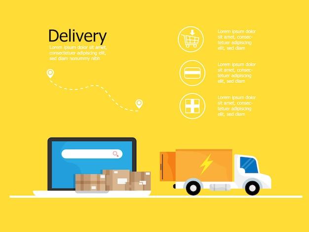Solicitud de entrega en línea en computadora portátil y caja de paquetería con camión