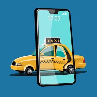 Solicitud en línea para llamar al servicio de taxi por teléfono inteligente