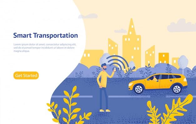 Solicitud móvil de pedido de taxi en línea