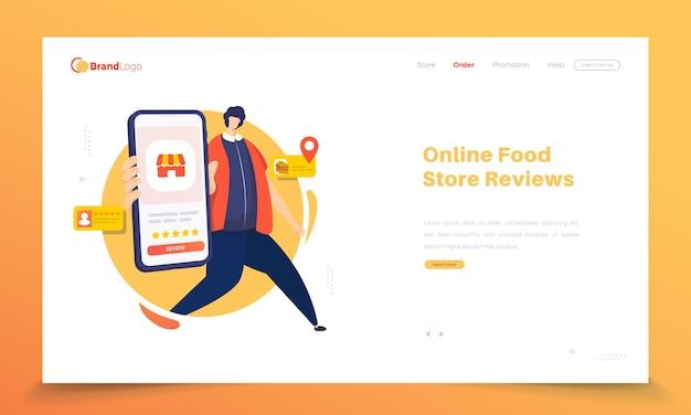 Solicitud de revisión de la tienda de alimentos en la página de destino