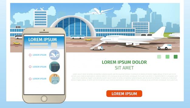 Solicitud de servicios de línea aérea vector de dibujos animados página web