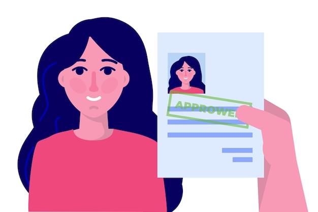 Solicitud de trabajo papel de documento aprobado. ilustración