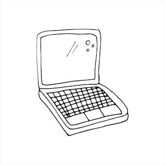Un solo elemento de la computadora portátil, computadora en el conjunto de negocios de doodle. ilustración de vector dibujado a mano para tarjetas, carteles, pegatinas y diseño profesional.