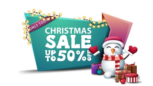 Solo hoy, venta de navidad, hasta 50 de descuento, banner de descuento verde y rosa en guirnalda de herida de estilo de dibujos animados con muñeco de nieve en sombrero de santa claus con regalos