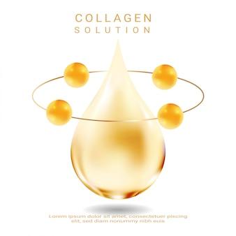 Solución cosmética. esencia suprema de colágeno. vector premium