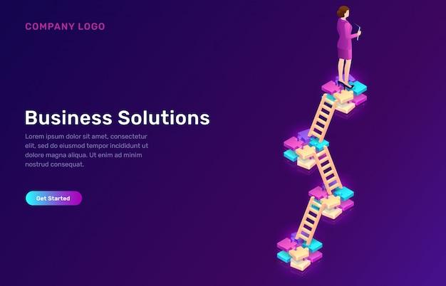 Solución empresarial, estrategia de concepto de desarrollo.