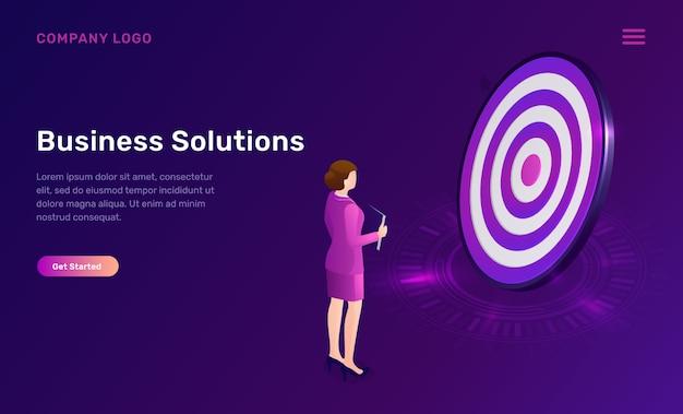 Solución empresarial, logro isométrico del objetivo
