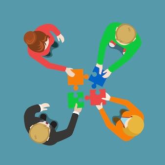 Solución de equipo empresarial en colaboración trabajo en equipo