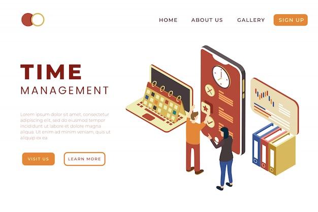 Solución de gestión del tiempo y trabajo en equipo en diseño isométrico de ilustración 3d