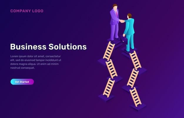 Solución de negocio y concepto isométrico de acuerdo