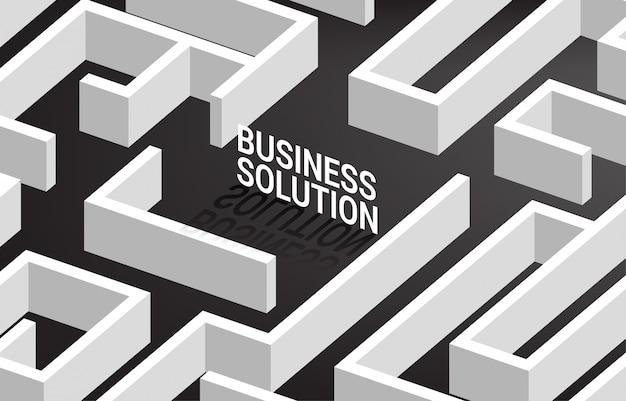 Solución de negocios en el centro del laberinto. concepto de negocio para la resolución de problemas y estrategia de solución de marketing.