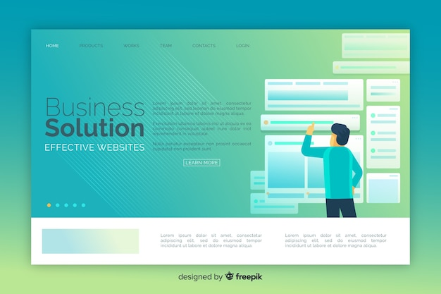 Solución de negocios colorida página de inicio