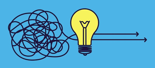 Solución de objetivos. concepto de idea, lluvia de ideas creativa o cambio de opinión. estrategia eficaz, metáfora sin problemas con bombilla