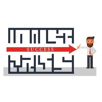 Solución de pensamiento de empresario de un éxito de laberinto