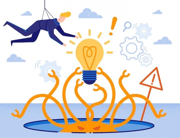Solución de rescate creación de ideas metáfora de dibujos animados